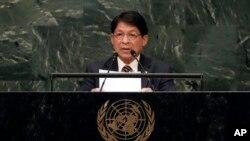 Menteri Luar Negeri Nikaragua Denis Moncada Colindres menyampaikan pidato di hadapan sidang ke-73 Majelis Umum PBB, di New York, 1 Oktober 2018.