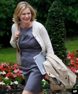 Justine Greening, Secretary of State for Education, Minister for Women and Equalities arrives for a cabinet meeting after the general election in London, June 12, 2017.