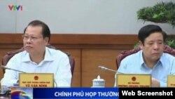 Bộ trưởng Quốc phòng Việt Nam Phùng Quang Thanh trong đoạn clip về phiên họp thường kỳ của chính phủ hôm 31/7.