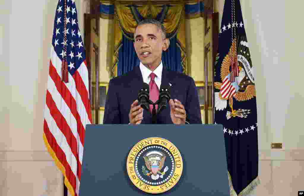 "President Barack Obama addresses the nation, ordering the United States into a broad military campaign to ""degrade and ultimately destroy"" Islamic State militants, Washington, Sept. 10, 2014."