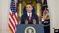 Tổng thống Barack Obama đọc bài diễn văn được truyền hình trực tiếp tại Tòa Bạch Ốc, Washington, 10/9/2014.