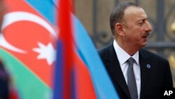 FILE - Azerbaijan President Ilham Aliyev arrives for a meeting on the 5th anniversary of the Eastern Partnership at the Prague Castle in Prague, Czech Republic.