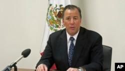 墨西哥外长何塞•安东尼奥•梅亚德2013年10月22日在墨西哥驻日内瓦的联合国代表处举行的记者会上发表谈话。