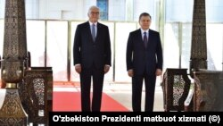 Germaniya Prezidenti Frank-Volter Shtayenmayer (chapda) O'zbekiston rahbari Shavkat Mirziyoyev bilan, Toshkent, O'zbekiston, 2019-yil, 28-may