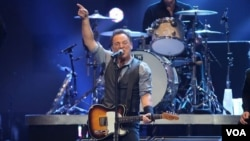 Bruce Springsteen performing at the 12-12-12 Concert for Sandy Relief at Madison Square Garden.
