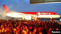 Presentación de la nueva imagen de Avianca en el aeropuerto El Dorado de Bogotá. Feb.28 de 005. La aerolínea suspendió los vuelos a Venezuela y desde ese país a Colombia y Perú a partir del 26 de julio de 2017.