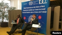 South African President Cyril Ramaphosa and International Labour Organization Director-General Guy Ryder launch the report of the Global Commission on the Future of Work at a news conference held at ILO headquarters in Geneva, Switzerland, Jan. 22, 2019.