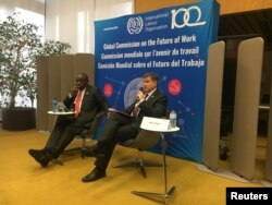South African President Cyril Ramaphosa and International Labour Organization Director-General Guy Ryder launch the report of the Global Commission on the Future of Work at a news conference held at ILO headquarters in Geneva, Jan. 22, 2019.