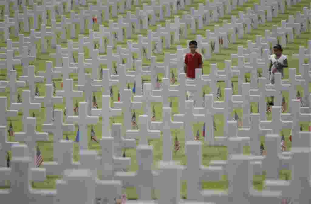El Cementerio Americano, en Manila, Filipinas, contiene el mayor número de soldados estadounidenses caidos en la Segunda Guerra Mundial.