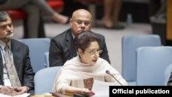ڈاکٹر ملیحہ لودھی اقوام متحدہ کے ایک اجلاس میں تقریر کررہی ہیں۔ (فائل فوٹو)