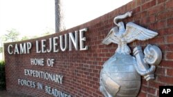 Le Camp Lejeune est une base de l''United States Marine Corps' située à Jacksonville en Caroline du Nord aux États-Unis, le 19 mars 2013.