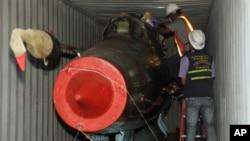 """El carguero """"Chong Chong Gang"""" fue interceptado por autoridades panameñas el 10 de julio de 2013 al intentar cruzar el Canal de Panamá."""