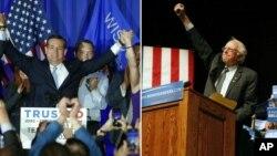 Ứng cử viên tổng thống của đảng Cộng hòa Ted Cruz và ứng viên tổng thống của đảng Dân chủ Bernie Sanders ăn mừng chiến thắng tại bang Wisconsin, ngày 5/4/2016.