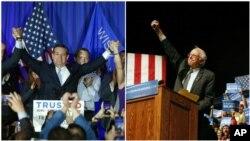 威斯康辛州星期二舉行的重要初選中﹐克魯茲(左)及桑德斯(右)在各自黨內勝出。