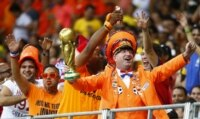 Dutch fans celebrate at the 2014 World Cup.