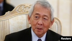 FILE - Philippine Foreign Minister Perfecto Yasay during a meeting with Russian Foreign Minister Sergei Lavrov (not pictured) in Moscow, Russia, Dec. 5, 2016.