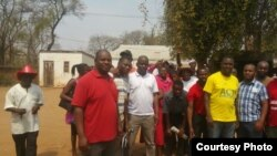 Some of the protesters in Gwanda, Matabeleland South province,
