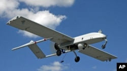 An unarmed U.S. 'Shadow' drone is pictured in flight in this undated photograph (FILE PHOTO).