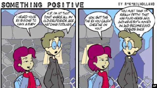 Randy K. Milholland quit his job to work fulltime on his Web comic strip, 'Something Positive.'