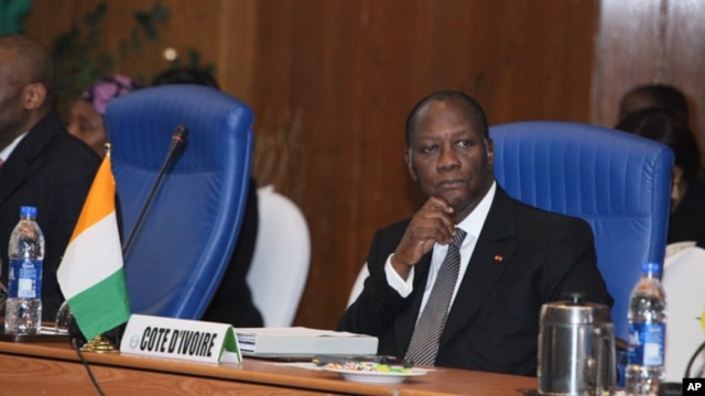 Ivory Coast President Alassane Ouattara, is also chairman of the authority of the Economic Community of  West African States. (file photo).
