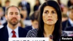니키 헤일리 유엔주재 미국대사가 6일 스위스 제네바에서 열린 유엔 인권이사회에 참석했다.