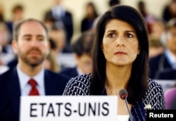 U.S. Ambassador to the United Nations Nikki Haley attends the United Nations Human Rights Council in Geneva, Switzerland June 6, 2017.