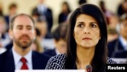 美国驻联合国大使妮基·黑利2017年6月6日出席在瑞士日内瓦举行的联合国人权理事会会议。