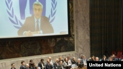 Filippo Grandi (on screen), UN High Commissioner for Refugees (UNHCR), briefs the Security Council meeting on the situation in Myanmar. UN Photo/Eskinder Debebe