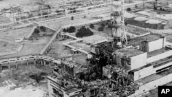 Photo de la centrale nucléaire de Tchernobyl en avril 1986.