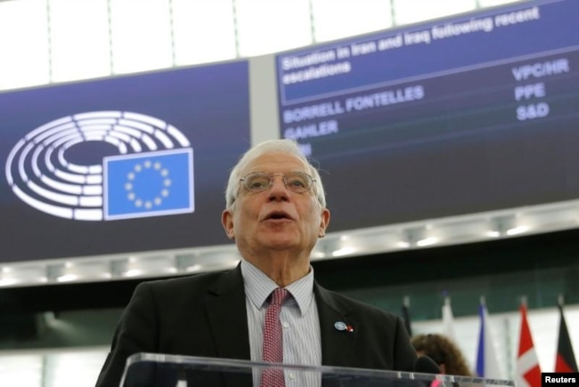រូបឯកសារ៖ លោក ចូសេហ្វ បូរែល (Josep Borrell) តំណាងជាន់ខ្ពស់ទទួលបន្ទុកគោលនយោបាយការបរទេសនិងសន្តិសុខរបស់គណៈកម្មការអឺរ៉ុប ថ្លែងនៅប្រទេសបារាំង កាលពីថ្ងៃទី១៤ ខែមករា ឆ្នាំ២០២០។