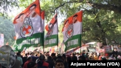 Some of the celebrations outside Congress Party headquarters in New Delhi Rahul Gandhi took charge as the party's president.