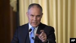 FILE - Environmental Protection Agency Administrator Scott Pruitt speaks in Washington, Feb. 21, 2017.