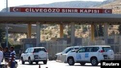 시리아 휴전 나흘째인 16일 터키 하타이 주 레이한리의 바브알하와 국경 검문소를 통해 유엔 차량들이 시리아로 들어가고 있다.