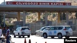 Xe của Liên Hiệp Quốc vào Syria tại cửa khẩu Cilvegozu ở tỉnh Hatay, Thổ Nhĩ Kỳ, ngày 16/9/2016.