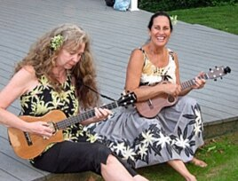 The Hula Honeys, Robin Kneubuhl and Ginger Johnson, record on the Ululoa label and combine contemporary jazz with traditional Hawaiian sounds.