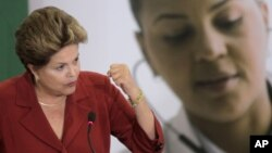 Brazil's President Dilma Rousseff speaks at the launching of a health program that aims to improve public care and the education of Brazilian doctors, at the presidential palace in Brasilia, Brazil, Jul. 8, 2013.