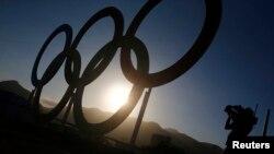Coucher de soleil sur le parc olympique, à Rio de Janeiro, Brésil, le 31 juillet 2016.
