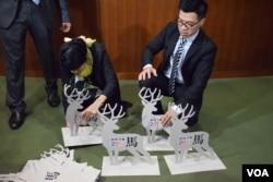 泛民立法會議員范國威與毛孟靜重新放置「指鹿為馬」裝置藝術。(美國之音湯惠芸)
