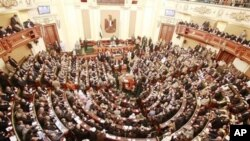 A general view of the first Egyptian parliament session after the revolution that ousted former President Hosni Mubarak, in Cairo, Egypt, January 23, 2012.