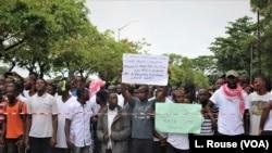 Des manifestants contre la gouvernance du président George Weah à Monrovia le 7 juin 2019.