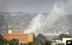 Vue de la zone diplomatique de Kaboul attaquée le 13 septembre 2011