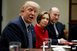 President Donald Trump, accompanied by Cape Cod Five Cents Savings Bank CEO Dorothy Savarese, center, and National Economic Council Director Gary Cohn, speaks during a meeting with leaders from small community banks, Thursday, March 9, 2017, in the Roosevelt Room of the White House in Washington.