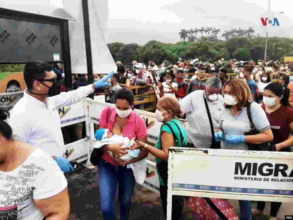 Personal de salud organiza la entrada de migrantes en la frontera entre Colombia y Venezuela.