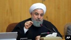 Le président Hassan Rouhani à une réunion de cabinet à Téhéran, en Iran, le 31 décembre 2017.