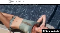 عکس صفحه اول سایت طلا راسی با طراحی مایو هایی که او انجام داده است.