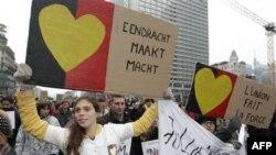 Dhjetra mijëra belgë marshojnë në Bruksel