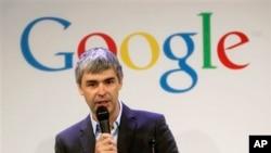 Salah satu pendiri Google, Larry Page dalam sebuah konferensi pers di kantor Google di New York. (Foto: Dok)