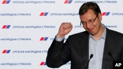 Serbian Prime Minister and Progressive Party leader Aleksandar Vucic reacts during a press conference after claiming victory in parliamentary elections in Belgrade, Serbia, April 24, 2016.