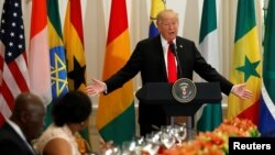 U.S. President Donald Trump speaks during a working lunch with African leaders during the U.N. September 20, 2017.