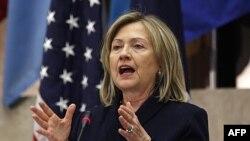 Ngoại trưởng Mỹ Hillary Clinton phát biểu tại hội nghị thường niên các nước Châu Mỹ tại Bộ Ngoại giao ở Washington, 11/5/2011